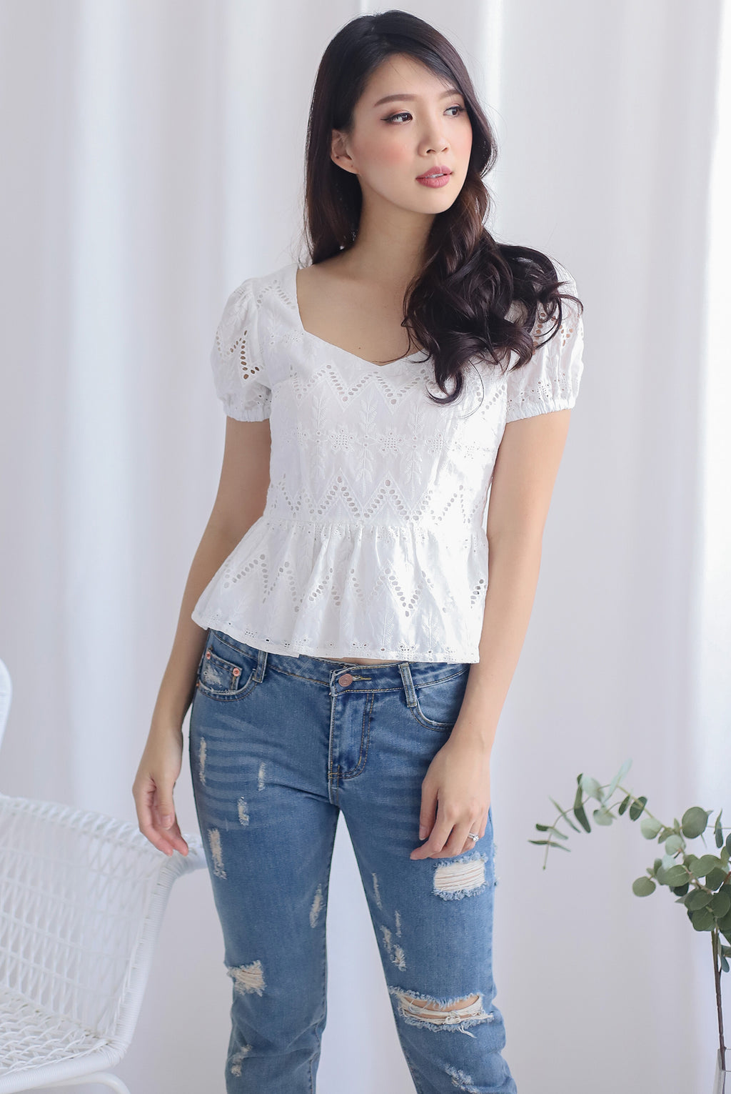 *Backorder* Amie Eyelet Pelum Top In White