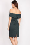 Amori Wrap Off Shoulder Pencil Dress In Forest Green