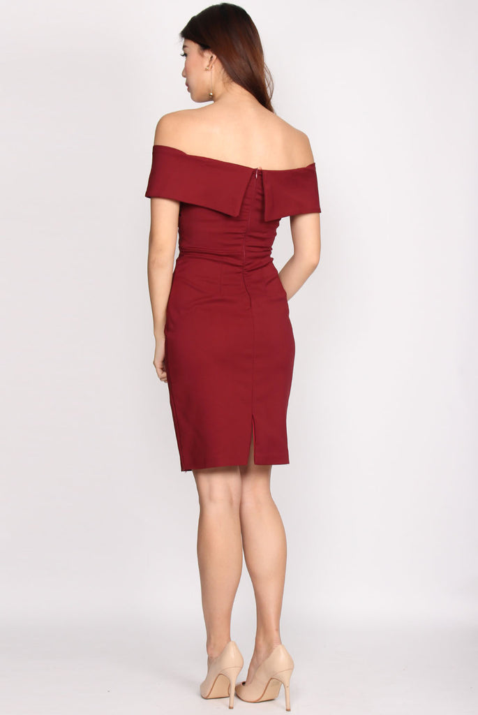 Amori Wrap Off Shoulder Pencil Dress In Wine Red