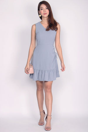 Andrea Drawstring Dress In Ash Blue
