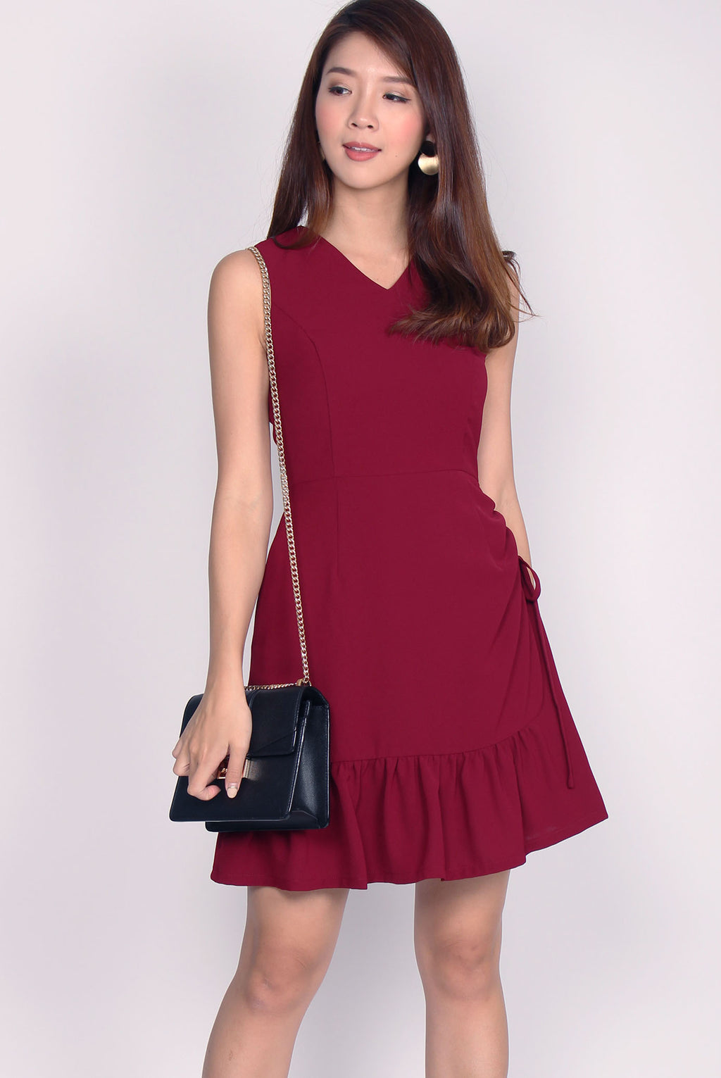 Andrea Drawstring Dress In Wine Red
