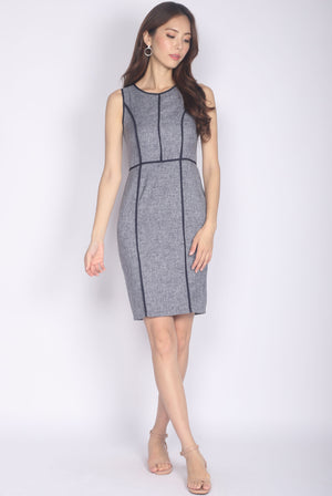 Andriette Border Tweed Dress In Navy Blue