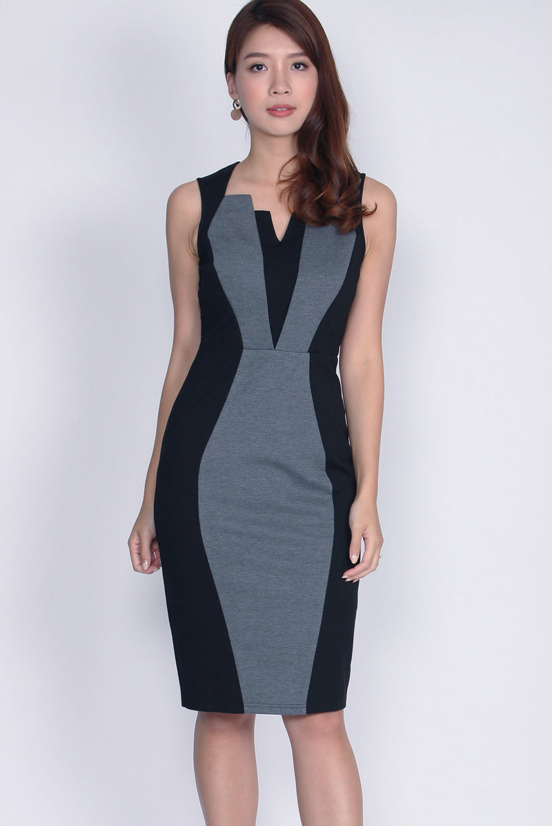 *Backorder*Premium* Anisten Colourblock Work Dress In Black
