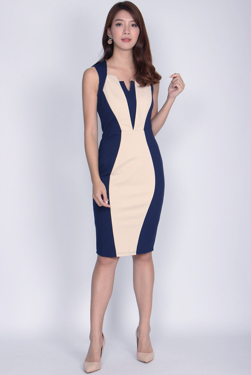 *Backorder*Premium* Anisten Colourblock Work Dress In Navy Blue