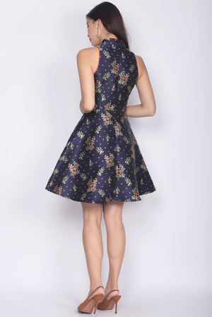 Annora Orange Border Cheong Sam Dress In Navy Blue