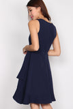 Anthea Origami Double Hem Dress In Navy Blue