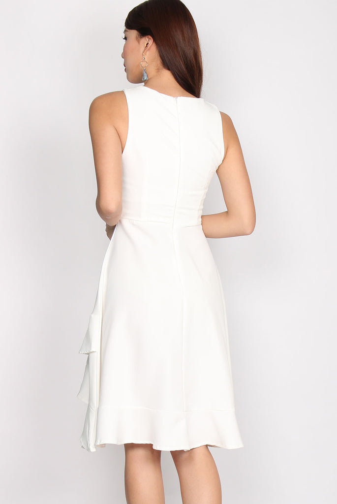 Anthea Origami Double Hem Dress In White