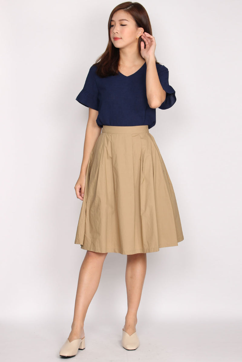 Antonella Pleated Skirt In Khaki