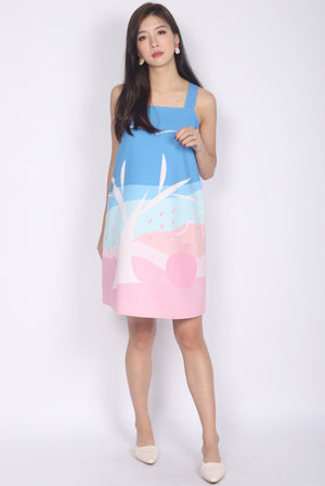 Apple Of My Eye V Back Trapeze Dress In Pink/Mint