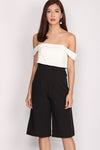 Arabella Faux 2 pcs Off Shoulder Jumpsuit In Black White