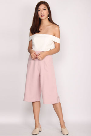 Arabella Faux 2 pcs Off Shoulder Jumpsuit In Blush