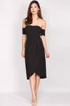 Aramenor Off Shoulder Tulip Dress In Black