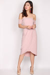 Aramenor Off Shoulder Tulip Dress In Blush