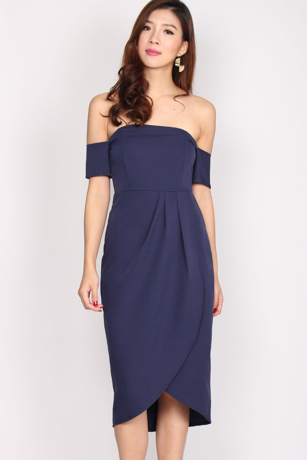 Aramenor Off Shoulder Tulip Dress In Navy Blue
