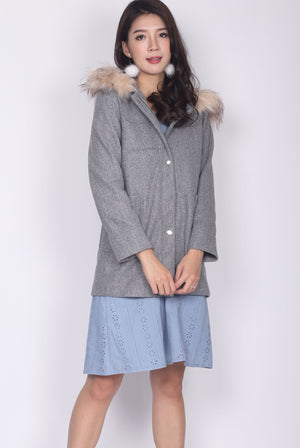 Ariana Fur Hoodies Coat In Grey