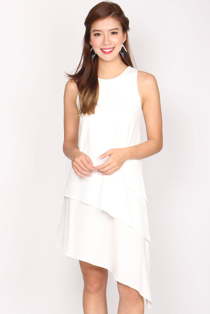 Arianna Tiered Asymmetrical Dress In White