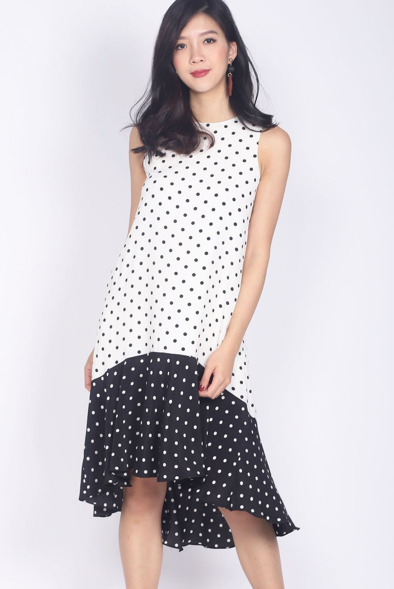 Arynne Mono Contrast Polkadot Dress In White/Black