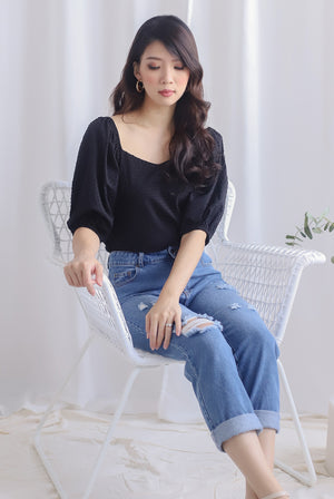 Asella Swiss Dot Puffy Top In Black