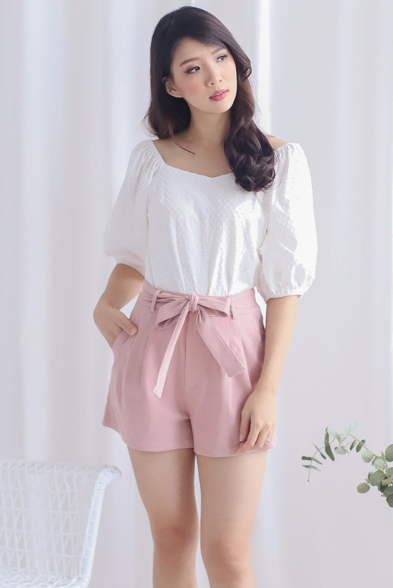 Hege Belted Denim Shorts In Pink