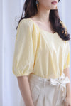 Asella Swiss Dot Puffy Top In Yellow