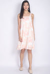 Astrid Abstract Dye Trapeze Dress In Peach