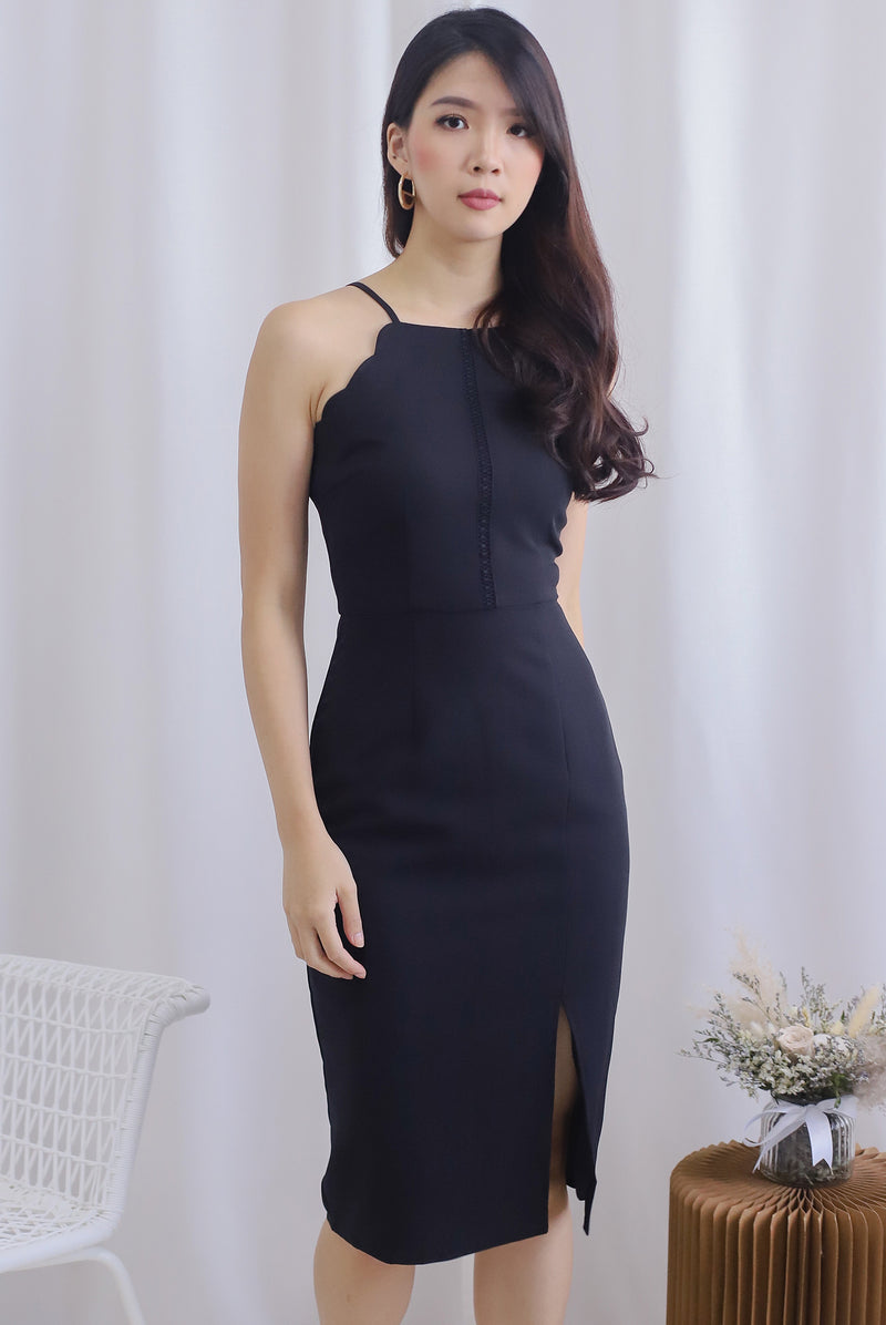 Audelia Scallop Halter Dress In Black