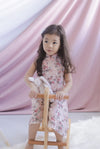 *Kids* Audette Floral Eyelet Cheongsam Dress In Pink