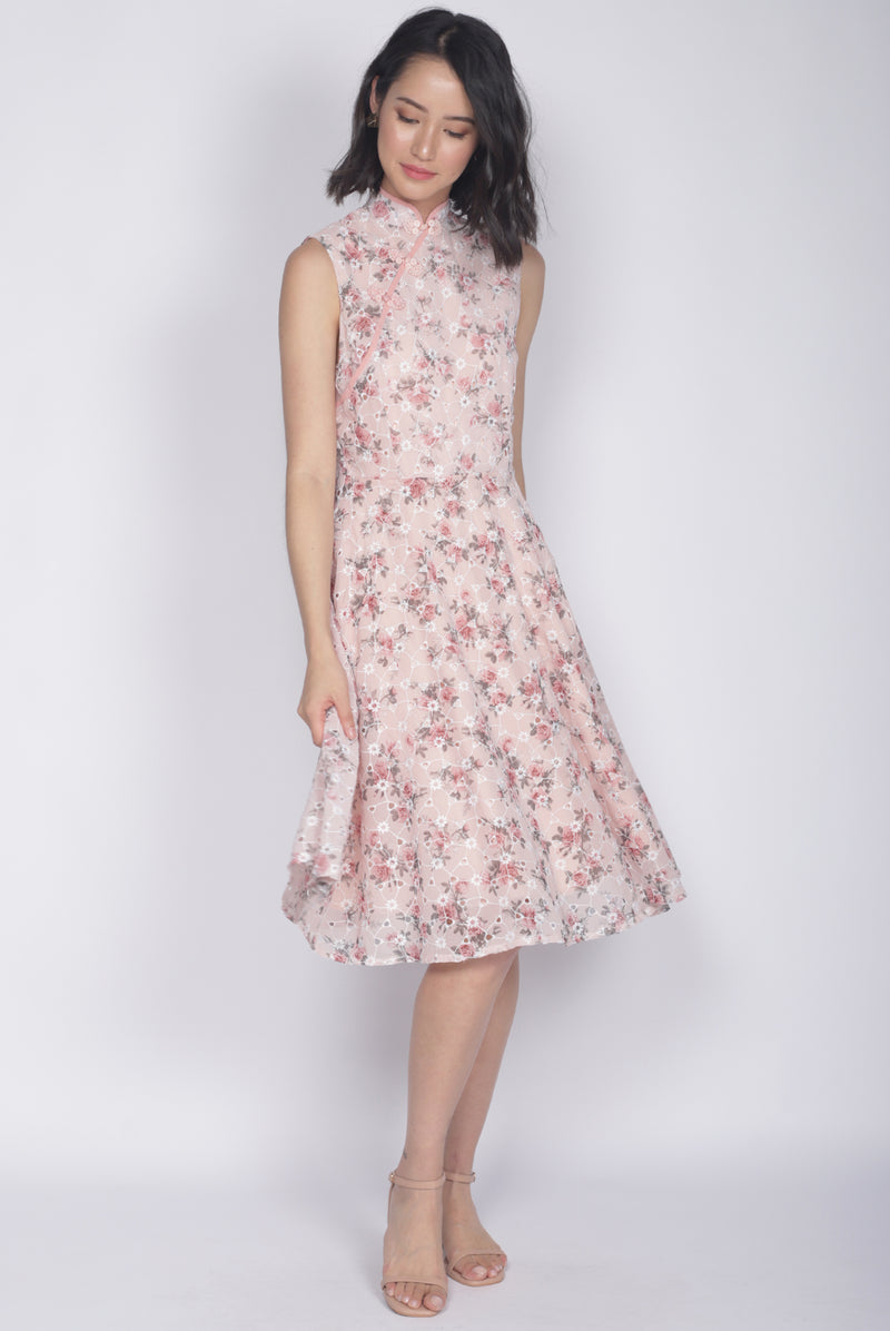Audette Floral Eyelet Cheongsam Dress In Pink