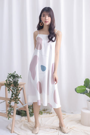 Aura Abstract Trapeze Dress In Earth