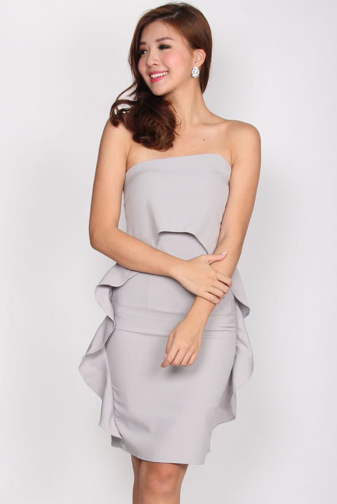 Aurora Wavy Tube Dress In Grey
