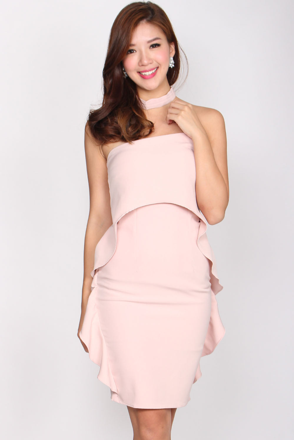 Aurora Wavy Tube Dress In Pink