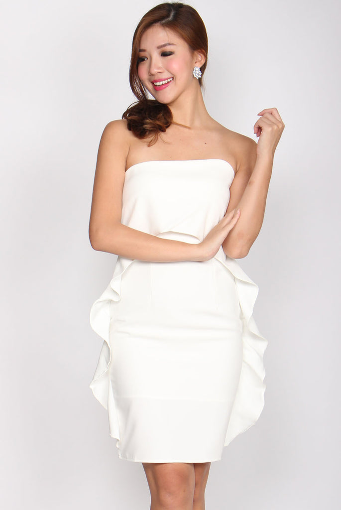 Aurora Wavy Tube Dress In White