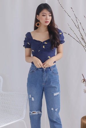 Avei Embro Eyelet Twist Sweetheart Top In Navy Blue