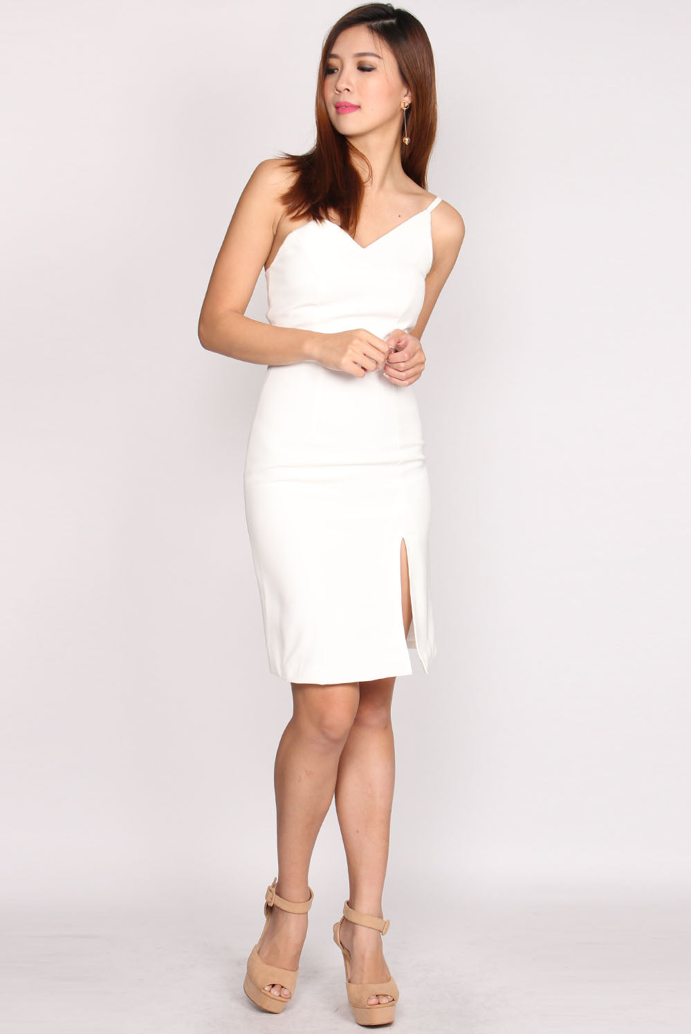 Averson Toga Slit Cut Dress In White