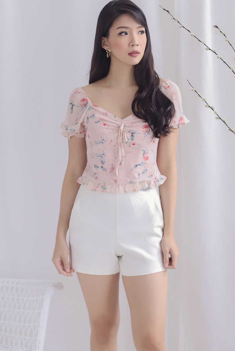 Avery Floral Ruched Puffy Sleeve Top In Blush