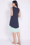Aymeline Pleated Tiered Hem Dress In Navy/Mint