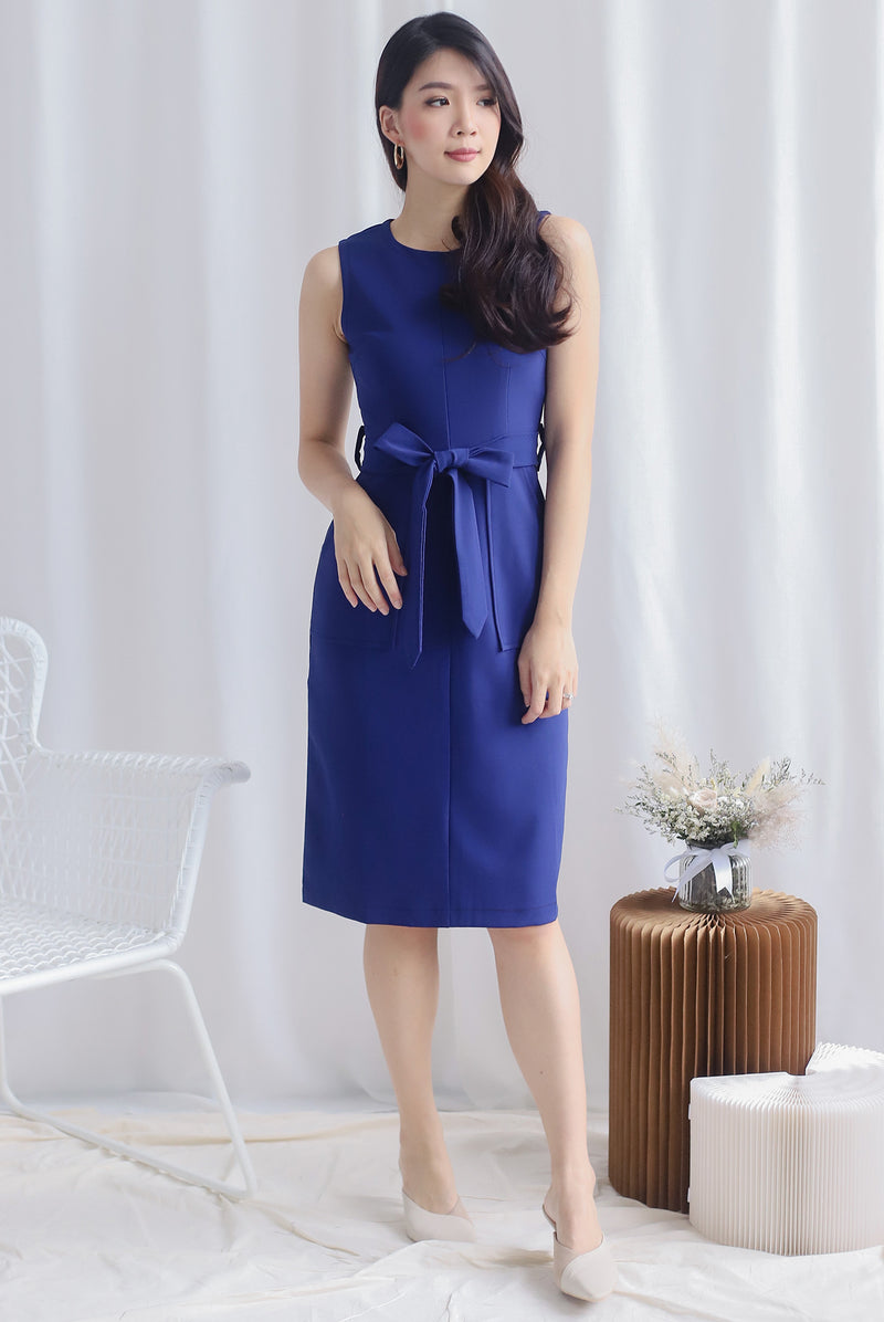 Ballari Contrast Stitch Work Dress In Blue