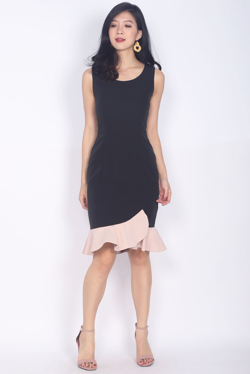 *Restock* Balthana Stacked Hem Mermaid Dress In Black/Pink