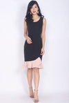 *BACKORDER II* Balthana Stacked Hem Mermaid Dress In Black/Pink