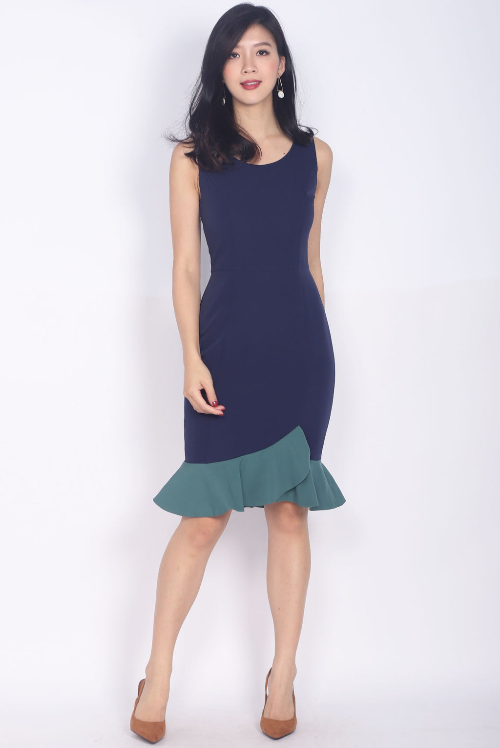 *Restock* Balthana Stacked Hem Mermaid Dress In Navy/Green