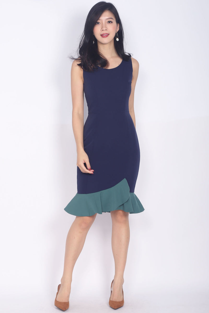 *BACKORDER* Balthana Stacked Hem Mermaid Dress In Navy/Green