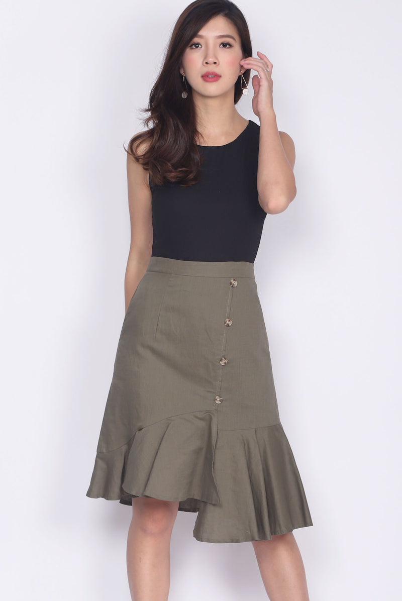 Bambalina Colour Block Asymm Buttons Dress In Black/Olive