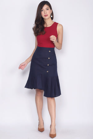 *Restock* Bambalina Colour Block Asymm Buttons Dress In Wine/Navy
