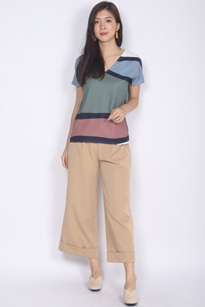 Bambi Abstract Batwing Top In Olive/Tea Rose