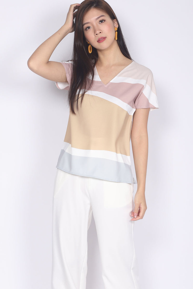 *Backorder II* Bambi Abstract Batwing Top In Pastel