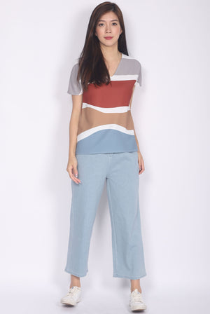 Bambi Abstract Batwing Top In Rust/Mustard