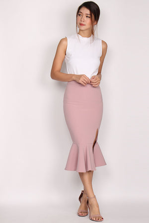 Barrie Mermaid Slit Skirt In Blush