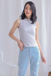 Basia Ribbed High Neck Top In Light Grey