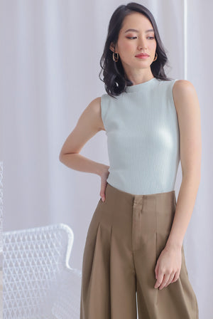 Basia Ribbed High Neck Top In Mint