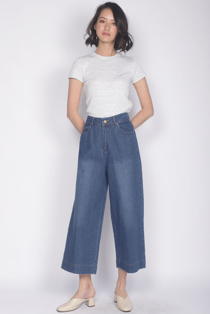 Batty Denim Culottes In Dark Wash